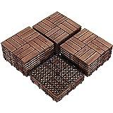 """Yaheetech 27PCS Patio Deck Tiles Interlocking Deck Tiles 12 x 12"""" Wood Floor Tiles Outdoor Flooring for Patio Garden Deck Brown"""