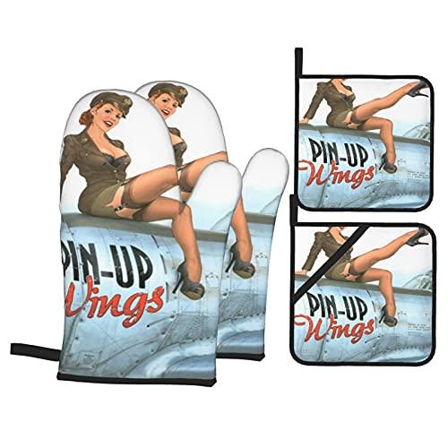 Pin-up Wings 2 - Silvester,Ofenhandschuhe und Topflappen-Sets,4pcs Hitzebeständigkeit Wasserdicht Handschuhe Pads für Küche Kochen Backen BBQ