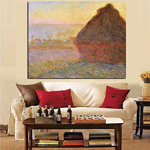 wZUN Pajar de impresión HD al Atardecer Paisaje Pintura al óleo Lienzo Arte Pared Imagen Cartel 60x80 Sin Marco