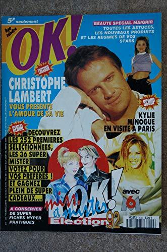 OK ! âge tendre 849 AVRIL 1992 CELINE DION CHRISTOPHE LAMBERT KYLIE MINOGUE JEAN LELOUP