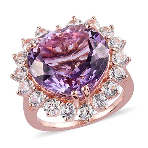 TJC Natural Amethyst Heart Halo Ring for Womens in Rose Gold Plated 925 Sterling Silver Size T with White Zircon, TCW 14.5ct