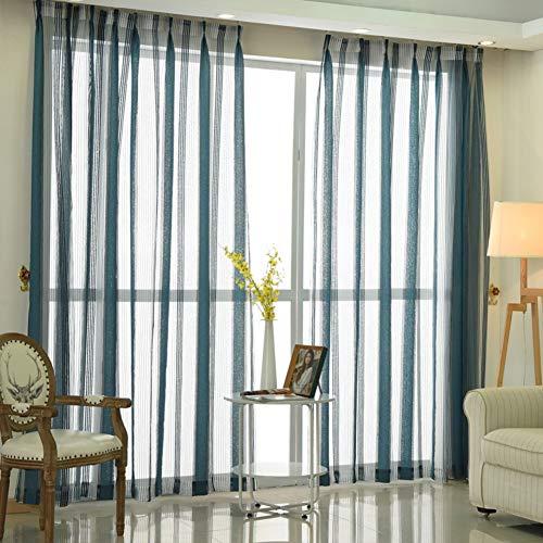 HM&DX Gestreift Caterpillar Transparent Voile Gardinen, 1-Panel Transparent Tüll-vorhänge Moderne Fenster Vorhang Panels Décoration De La Maison -blau 350x270cm(138x106inch)