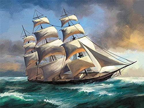 5D Diamentowy zestaw do malowania Diamentowa sztuka Pełne wiertło Arts Craft Płótno Dostawa do dekoracji ścian w domu Prezent łódź jazda na wietrze 12x16 cali