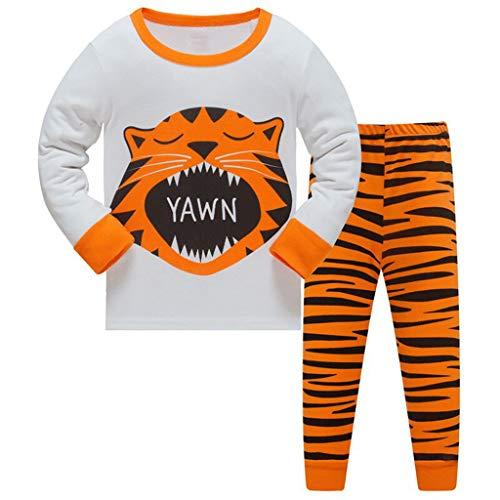 HIKIDS Jungen Schlafanzug Lang Pyjamas Sets Kinder Tiger Kleinkind Zweiteiliger Pjs Nachtwäsche 7-8 Jahre