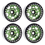 4PCS Metal 1.9' Beadlock Wheel Rims for 1/10 Scale Rc Crawler Traxxas TRX-4 Axial Scx10 II D90 Tamiya CC01 D110(Green+Black) …