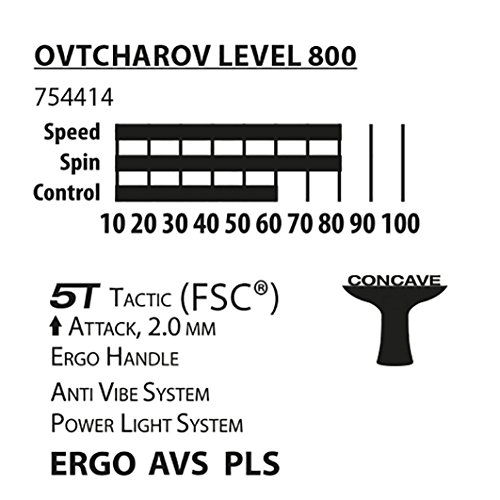 Donic-Schildkröt Ovtcharov 800 Table Tennis Bat, AVS, PLS and Ergo-Grip, Sponge 2.0 mm, FSC Wood, Champion Pad - ITTF, 754414