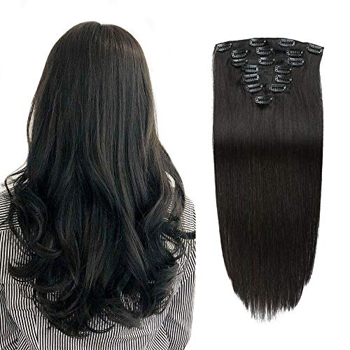 Real Remy Thick Clip in Human Hair Extensions Double Weft Yaki Straight Natural Black for...