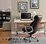 La-Z-Boy Cantania Executive Chair with AIR Lumbar Technology and Memory Foam Cushions, Ergonomic Design for Office Space, Brown Bonded Leather