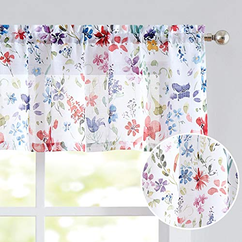 """Fragrantex Floral Kitchen Curtains Valance 15 Inch Length Colorful Flower Print on Linen Textured Sheer Window Topper for Bathroom Small Curtains for Kitchen Windows 56"""" W x 15"""" L Watercolor,1 Panel"""
