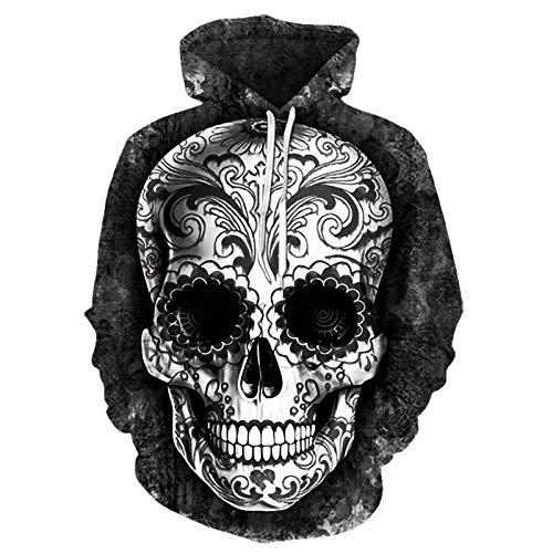 RITIOA Sudadera con capucha con impresión 3D Snipes con diseño de esqueleto Uniesx, divertida sudadera con capucha para hombre y mujer con grandes bolsillos T20. M