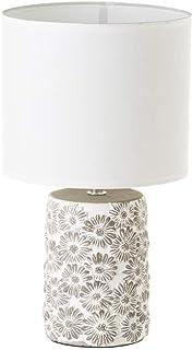 Lámpara con flores shabby chic de cemento blanca, de ø 17x30 cm - LOLAhome