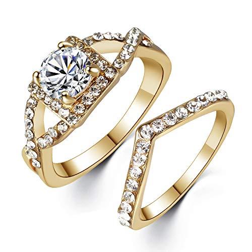 Paar transparente große Zirkon Gold Fingerring symmetrische kreative Ring weibliche Verlobungsring Valentine GeschenkRinge für