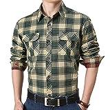 Camisas Informales de Manga Larga de Negocios para Hombres, a la Moda, a Cuadros, con Bolsillos con Costuras a Juego, Camisa clásica con Solapa y Todo fósforo XL