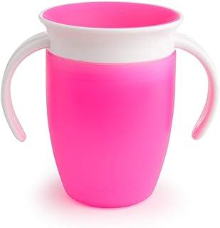 Munchkin Miracle 360°- Vaso de Entrenamiento Antiderrames con Asas, rosa, 207 ml