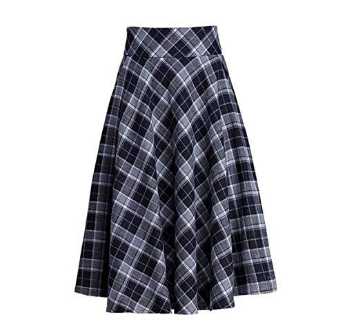 GL SUIT dames geruite wollen rokken dames hoge taille A-lijn Flared Midi rok herfst winter geplooide warme wol retro over de knie rok