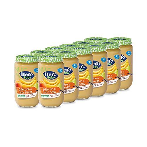 Hero Baby - Tarrito Selección de 3 Frutas, Ingredientes Naturales, para Bebés a Partir de los 4 Meses - Pack de 12 x 235 g