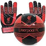 Liverpool FC - Juego Oficial de Guantes de Portero y balón de Talla 4 - Niños: 5-10 años
