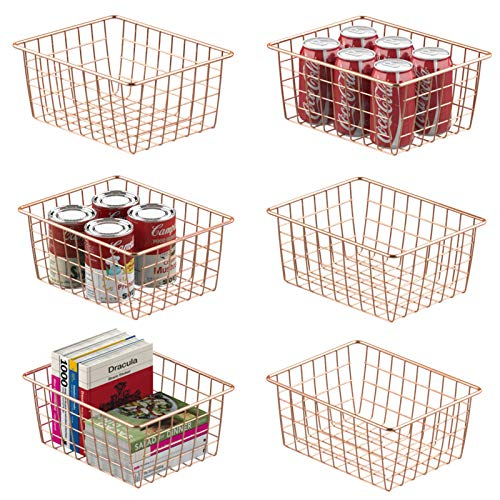 Wire Storage Basket, Veckle 6 Pack Metal Wire Baskets for Storage Pantry Organizer Storage Bin Baskets with Handles for Kitchen Cabinets, Pantry, Bathroom, Countertop, Closets, Rose Gold