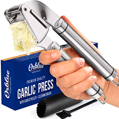 ORBLUE Garlic Press [Premium], Stainless Steel Mincer, Crusher & Peeler Set - Professional Grade, Easy Clean, Dishwasher Safe & Rust-proof