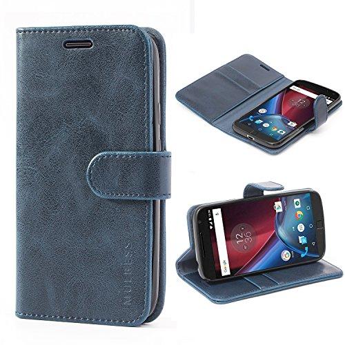 Mulbess Handyhülle für Moto G4 Play Hülle, Leder Flip Case Schutzhülle für Motorola Moto G4 Play Tasche, Dunkel Blau