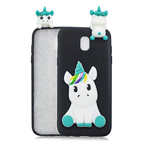 HopMore Funda para Samsung Galaxy J5 2017 Silicona Dibujos Panda Unicornio Divertidas TPU Gel Kawaii Ultrafina Slim Case Antigolpes Caso Protección Flexible Cover Design Gracioso - Unicornio Negro