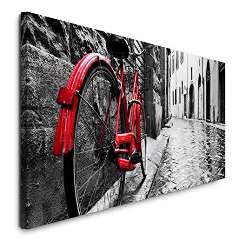 Paul Sinus Art GmbH Retro Fahrrad in Alter Stadt 120x 50cm Panorama Leinwand Bild XXL Format Wandbilder Wohnzimmer Wohnung Deko Kunstdrucke