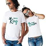 King And Queen Couple Coppia T-Shirt Re e Regina,Maglietta a Maniche Corte in Cotone,Idea Regalo per...