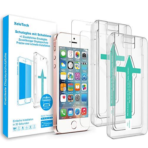 XeloTech Premium Schutzglas Folie (2 Stück) kompatibel mit iPhone SE (2016) & iPhone 5s 5 mit Schablone für hohe Passgenauigkeit - Kompatibel mit Hülle - Harte Schutzfolie