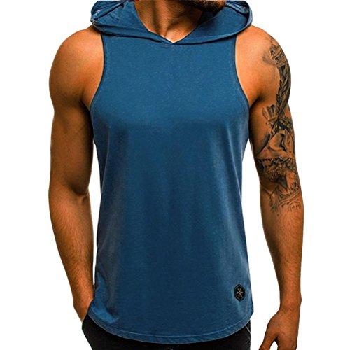 QinMM Camiseta con Capucha de Tirantes Deportes para Hombre, Tops Camisa sin Mangas de Verano Fitness (L, Azul)