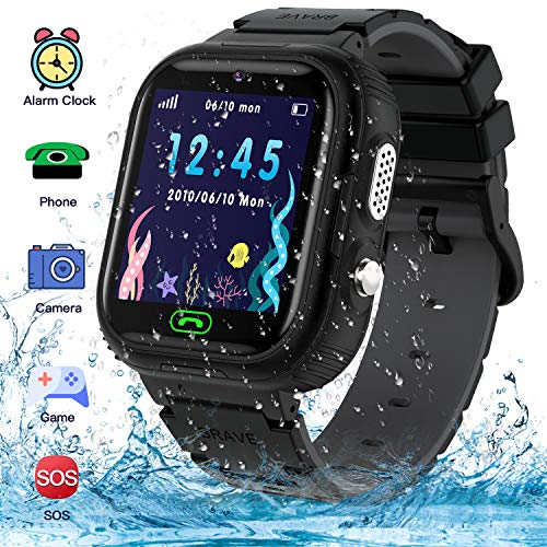 Kids Smart Watch Phone,IP67 Waterproof GPS Tracker Smartwatch for Kids, HD Touch Screen Game Watch with SOS Call/Voice Chat/Camera/Alarm for Boys and Girls Birthday Gifts (Black)