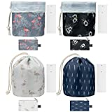 Hedume Set of 4 Travel Makeup Bags with 4 Small Zipper Jewellery Pocket and 4 Mini Transparent PVC Toiletry Pouch, Barrel Foldable Waterproof Cosmetic Organizer, Multifunctional Toiletry Bucket Bags