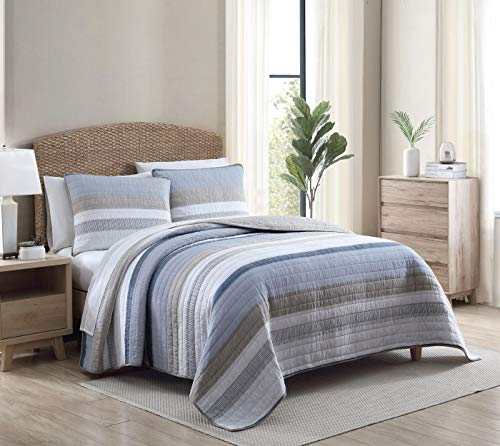 Nautica Home | Galewood Collection | Premium Cotton Ultra Soft Quilt Coverlet, Comfortable 3 Piece Bedding Set, All Season Stylish Bedspread, Full/Queen, Blue