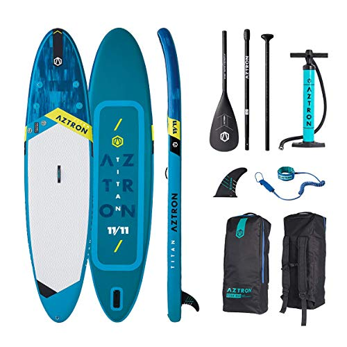 AZTRON Titan 11.11 Inflatable SUP Stand up Paddle Board mit Style Alu Paddel 363x80x15cm