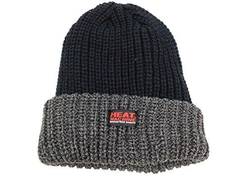 Pour homme Noir/gris d'hiver chaud brossé Bonnet la chaleur machine thermique Chapeau - -