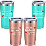 4 Pieces It Takes a Big Heart to Help Shape Little Minds, Teacher Appreciation Gifts Idea for Graduation Christmas Birthday, 20 oz Vacuum Mug Tumbler with Lids Straws and Brushes