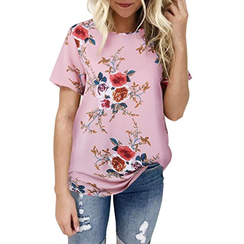 WOCACHI 2021 Womens Blouses, Plus Size Fashion Casual Floral Print T-Shirts Long Sleeve Tops and Blouse Winter Fall Ladies Round Neck Mom Gift Tunics Valentine's Day Tees Pink