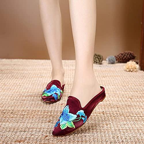 SYXYSM Zapatos Mujeres Bordadas Franela algodón Mulas Planas Zapatillas Puntiagudo Punta de Verano Damas Casuales Comodidad Comodidad Bordado Zapatos Zapatos Huesos
