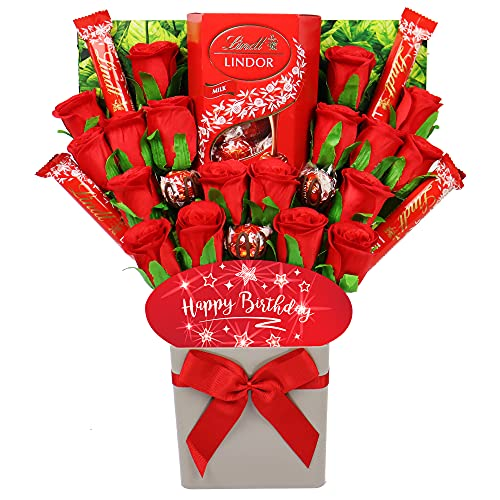 Large Lindt Lindor Happy Birthday Chocolate Bouquet Gift Hamper in Presentation Box