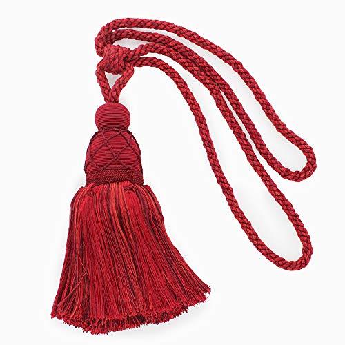 Grande embrasse élégante pour rideau et draperie - Bordeaux - Cerise noire - Rouge chinois - Pompon de 24 cm - Écartement de 76 cm - Style : TBV095L (21421) - Couleur : VNT12 - Merlot