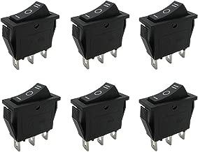 mxuteuk 6pcs Snap-in Boat Rocker Switch Toggle Power SPDT ON-Off-ON 3 Pin AC 250V 15A 125V 20A, Use for Car Auto Boat Household Appliances 1 Years Warranty MXU3-103