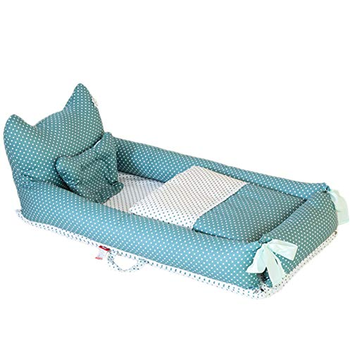 ZXLLO Children's travel bed, portable and lightweight, soft and breathable, perfect for cuddling, 0-2 years, children's multifunctional baby lounger, dot green (small bear).