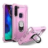 EnCASEs 2 in 1 Cell Phone Case with Bling CZ Rhinestone Kickstand for Motorola Moto G Stylus, Aluminum Evolve Metal Jacket Hybrid Case, Shockproof Bumper Case, Pink