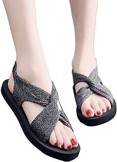 Joker Flat Beach Sandals, Soft and Comfortable High-Rebound EVA Upper, Heel Elastic, Rubber Sole, Tough, Wear-Resistant, Grey (Color : Gray, Design : 40)