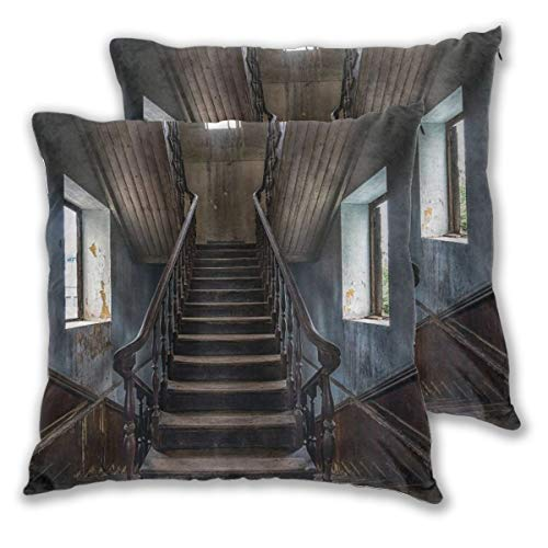 BROWCIN Throw Pillow Covers Set of 2 Scary Horror Movie Theme Classic Deserted Abandoned Home With Old Vintage Stairs Artwork Pillowcase Decorative Cushion Cover without Pillow 45cm x 45cm