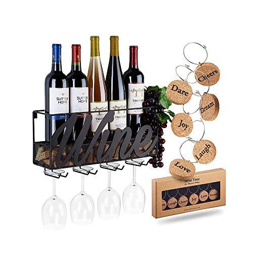 YFGQBCP botellero Muro de Hierro Que cuelga Botellero, Cork Cajas de Almacenamiento con 6 Colgantes de Cork, el hogar y decoración de la Cocina