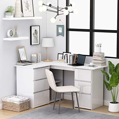Cikonielf - Mesa de ordenador portátil para ordenador con forma de L y mesa de estudio, con 6 cajones y 2 estantes para el hogar y la oficina, aglomerado blanco brillante 145 x 100 x 76 cm