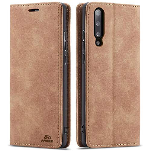 AFARER Samsung Galaxy A7 2018 hülle,Handyhülle mit Einfache Art Tasche Lederhülle Flip Case Brieftasche Handy hülle für Samsung Galaxy A7 2018 - Braun