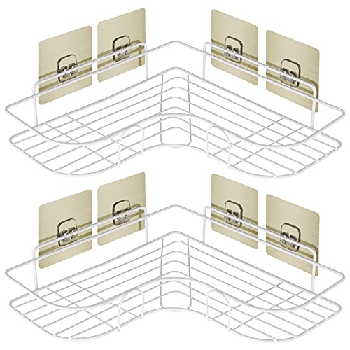 Shower Caddy Bathroom Corner Shelf Adhesive Basket Storage Rack Toile Holder Organizer with 4 Removable Hook Wall Mounted for Bathroom Kitchen Toilet - 2 Pack, White