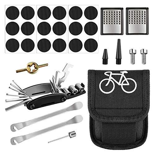 wivarra Kit de ReparacióN de Bicicletas Herramienta de ReparacióN de Pinchazos de NeumáTicos Escofina para Palancas de Parche de NeumáTicos de Bicicleta con Bolsa