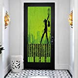 Window Film Door Sticker Glass Film 17.7 x 35.4 inches for Home Living Room Bedroom,Popstar Party,Music in The City Theme Singer with Electric Guitar on Grunge Backdrop,Lime Green Black